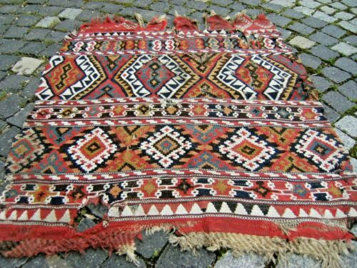 Fabulous Antique Awesome Collector's Piece Anatolian Fragment Kilim Bag Face Rug