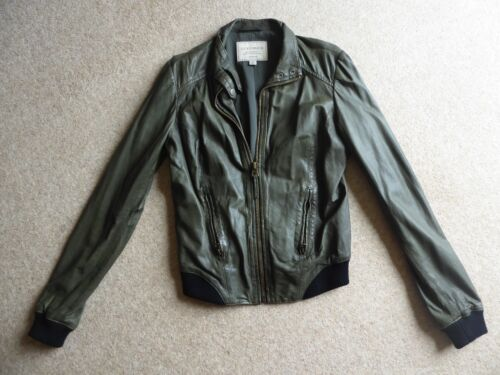 Lucky Brand Olive Green Leather Jacket Elena Vampire Diaries TVD - Size S