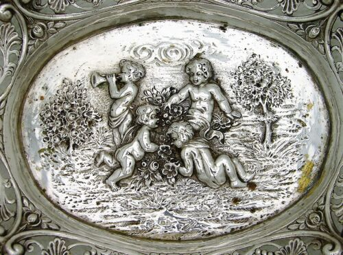 Silver Hanau Style Pierced Bowl with Flora Drape and Figural Cherub Motif