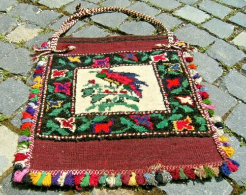 Wonderful Antique Bag Awesome Collectors Item West Anatolian Distressed Rug Bag