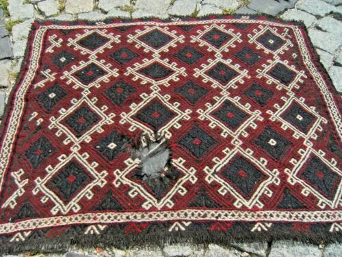 Wonderful Antique Awesome Collector's  West Anatolian Distressed Kilim Bag Face