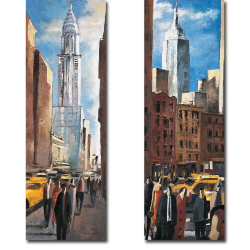 Chrysler & Empire State Buildings by Lourenco 2pc Gallery Wrap Canvas Giclee Set