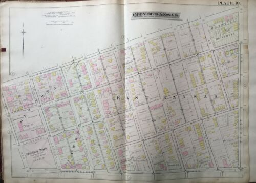 1886 COLUMBUS PARK KC MO OAK-TROOST AVE&4TH-INDEPENDENCE SHELLEY PARK ATLAS MAP