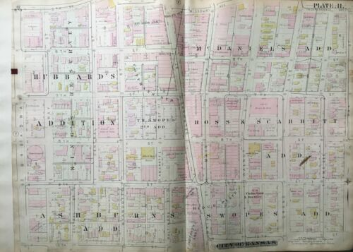 1886 GARMENT & FINANCIAL DISTRICT KC MO 5TH-10TH ST & BROADWAY-OAK ST ATLAS MAP