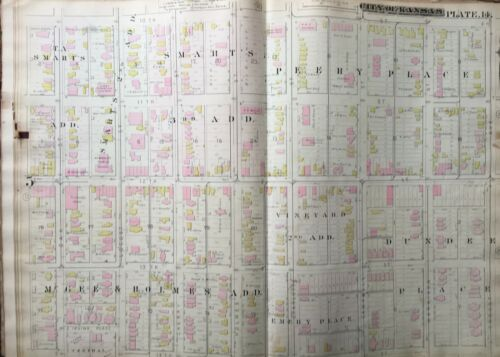 1886 DOWNTOWN KC MO 10TH-14TH ST & OAK-TROOST AVE HUMBOLDT SCHOOL ATLAS MAP