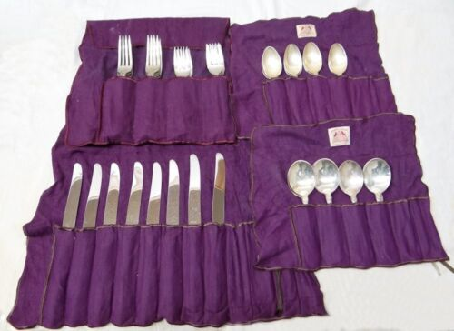 WALLACE STERLING SILVER 5 PIECE SETTING SIR CHRISTOPHER MONOGRAM R 40PC SET