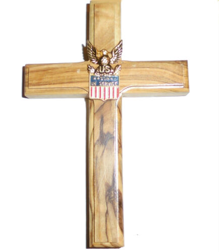 Holy Land Middle East Iraq Silver Son Service Pin Olive Wood Cross Veteran War Crucifixes & Crosses - 11669