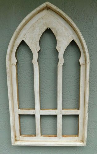"Wooden Antique Style Church WINDOW Frame Primitive Wood Gothic 30 1/4"" Shabby"