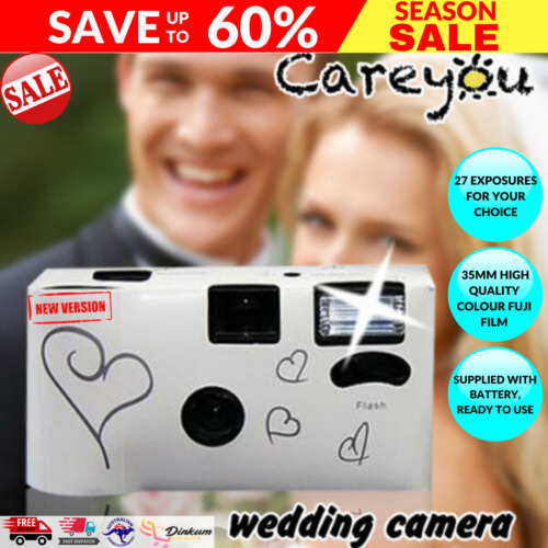 10 x HEARTS DISPOSABLE 36exp WEDDING Bridal CAMERA WITH FLASH AND TABLE CARD