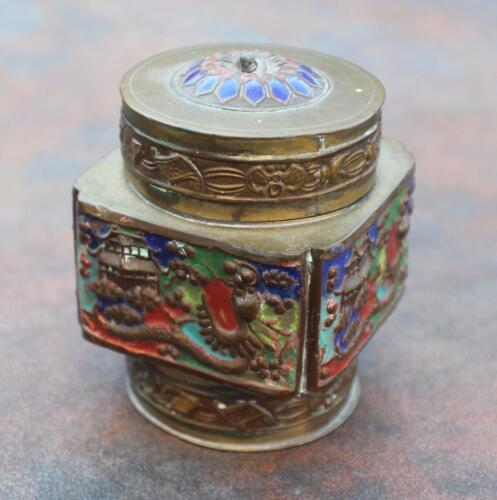 Antique or vintage brass enameled 3D dragons Chinese box