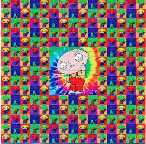 Psychedelic STEWIE BLOTTER ART perforated sheet paper psychedelic art