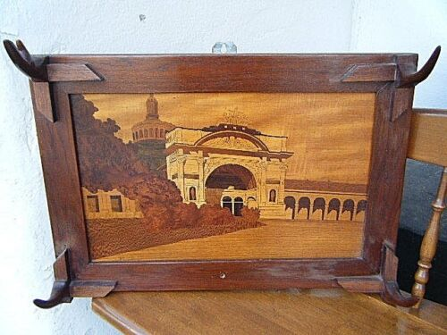 Antique European Wall Coat Hanger Burl Wood Marquetry Inlay with Castle Panel