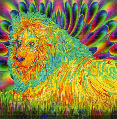 CRYSTAL LION BLOTTER ART perforated paper sheet psychedelic art