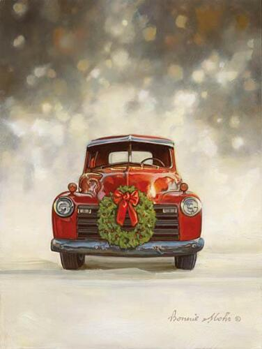 Bonnie Mohr Dazzling Red Old Truck Christmas Art Print-16 x 12