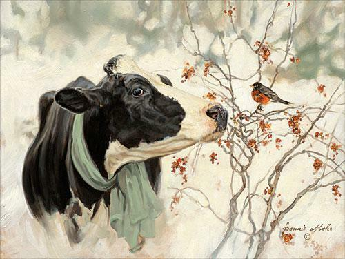 Bonnie Mohr The Winter Robin Cow Bird Art Print-16 x 12