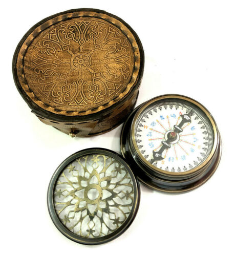 """Antique Maritime Brass Compass 3"""" with Leather Cover Nautical Pocket Compass"""