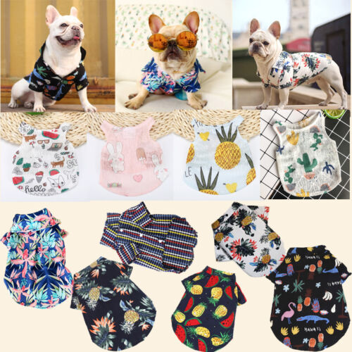 Various Pet Puppy Breathable Hawaii Summer Dog Cat Clothes Vest T Shirt Apparel