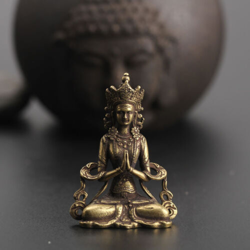Chinese Collection old Asian Brass guanyin tara godness Exquisite statue