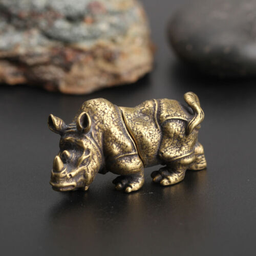 Chinese Collection Asian Antique Collectible Brass rhinoceros Exquisite statue