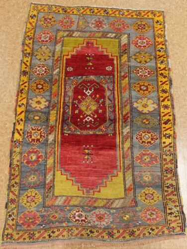 Antique Turkish Rug Hand Knotted Wool Red Blue Oriental Carpet 4 x 5