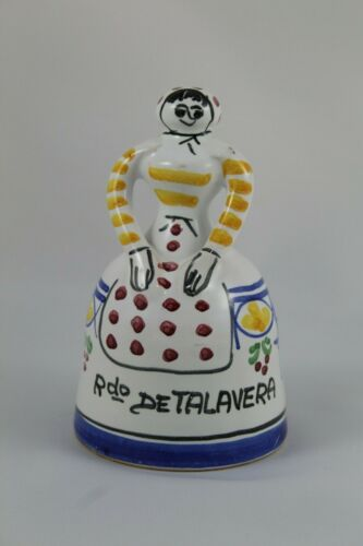 Bell of Porcelain of Talavera of the Queen with Shape of Ladies and Painted Hand