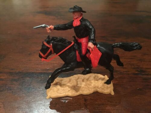 Timpo 2nd Series Mounted Cowboy/ Bank Robber - Black/ Red - 1960's