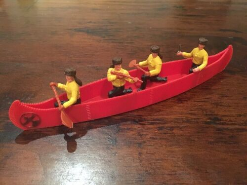 """Timpo Trapper Canoe/ """"Davy Crockett"""" - Red - Wild West - 1970's"""