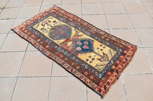 Wonderful Antique Awesome Caucasian Collectors Piece Distressed Shabby Chic Rug