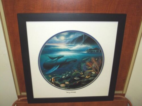 By Wyland Whales Matted With Silver Foil Stamp Hawaiian Artist