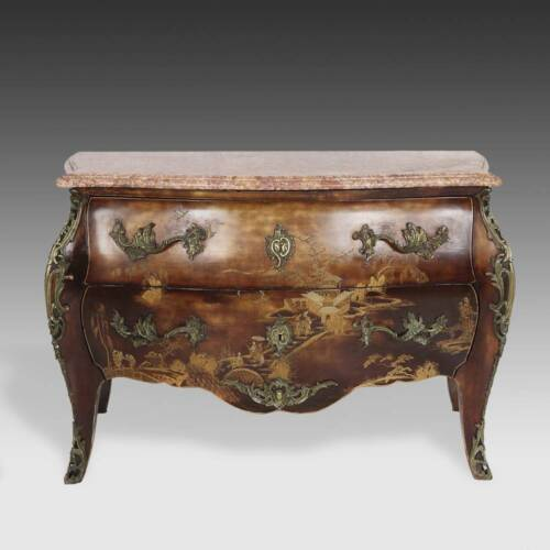 LOUIS XV STYLE COMMODE LACQUERED PAINTED OAK FRANCE LATE 19TH/EARLY 20TH C.