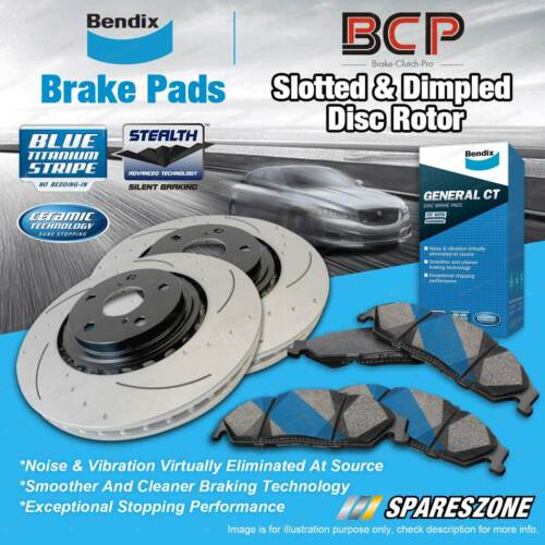 DIMPLED SLOTTED FRONT DISC BRAKE ROTORS+PBR PADS for Holden HX HZ 1976-80 RDA14D