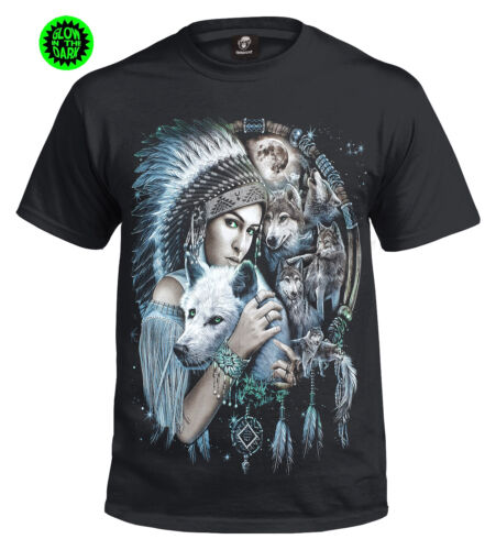 Native American Girl T-Shirt/Wolf/Red Indian/Tribal/Tattoo/Biker/Wolves/Tshirt