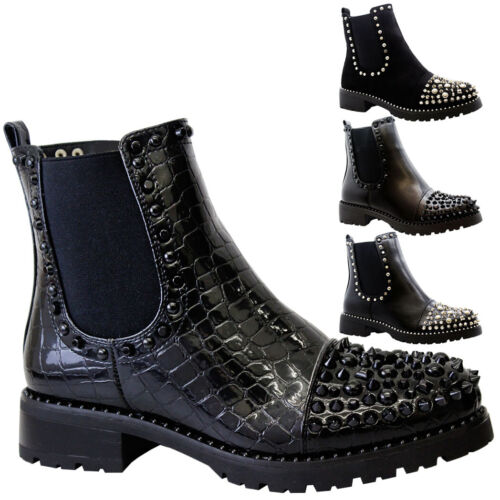 Ladies Studded Chelsea Ankle Boots Women Chunky Block Heels Goth Punk Shoes Size