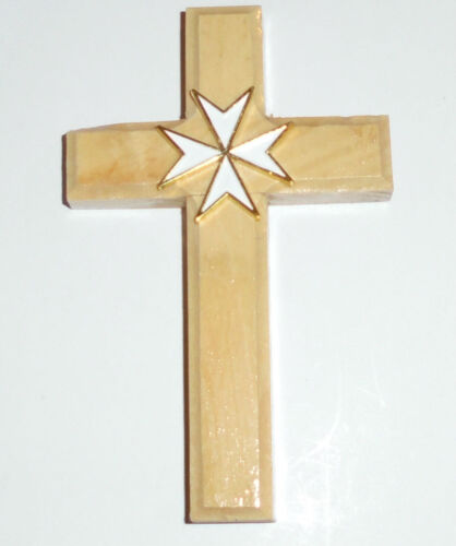 Medieval Holy Land Crusades Knights Olive Wood Malta Battle Cross Symbol White Reenactment & Reproductions - 156374