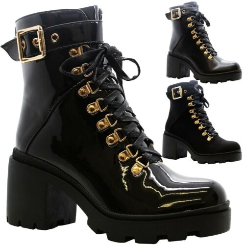 Women Chunky Platform Shoes Zip Goth Punk Buckle Ladies Lace Up Ankle Boots Size