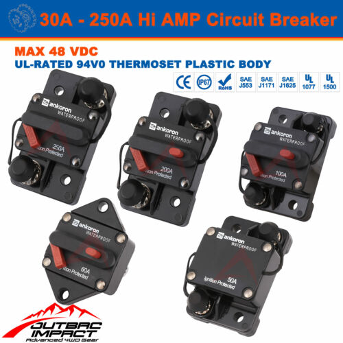 Hi Amp 30A - 250A Circuit Breaker Fuse 12V 48V DC IP67 High Current SS Terminal  <br/> Certified Cross to Bussmann 18X Auto Manual Reset