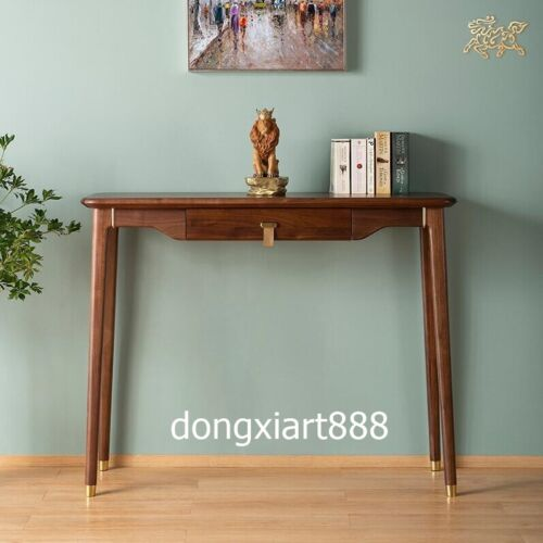 Black walnut solid wood Brown Hallway Table with Drawer Narrow Entry Furniture