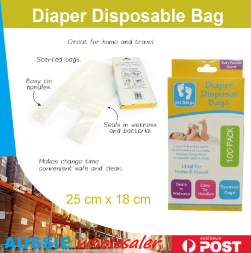 DISPOSABLE NAPPY BAGS 100/500/1200pc SingleUse Diaper Disposal Bag Rubbish Waste