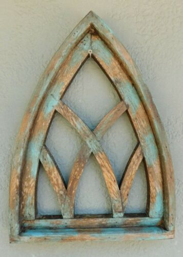 "Wooden Antique Style Church WINDOW Frame Primitive Wood Gothic 17 1/2"" Green"