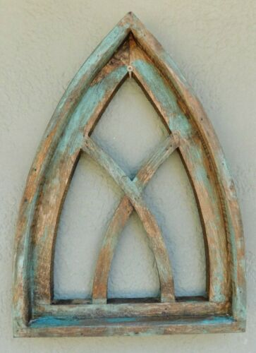 """Wooden Antique Style Church WINDOW Frame Primitive Wood Gothic 17 1/2"""" Green"""