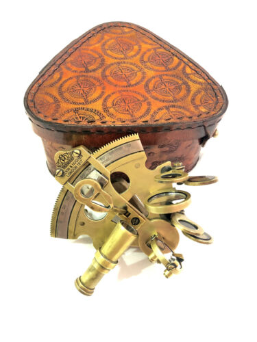 """Nautical Antique Brass Sextant 3"""" Marine Navigational Instruments in Leather Box"""