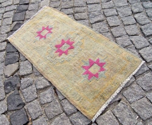 Muted_Color Oushak Rug 19'' X 34'' Vintage Turkish Small Doormat Oushak Area Rug