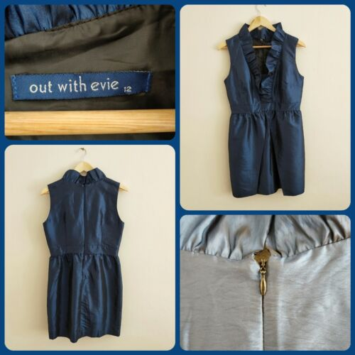 Out With Evie Blue Metallic Party Dress Size 12 EUC