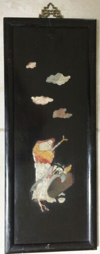 ANTIQUE CHINESE LACQUERED PLAQUE - IMMORTALS - CARVED STONES, JADE RELIEF