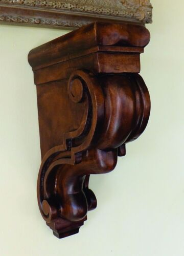 Vintage Hand Carved Walnut Wood Corbel Console Cantilever Brown Finish