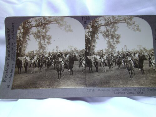 """Antique Keystone View Co.  Mounted  """"Full Feather"""" Leaving Camp"""