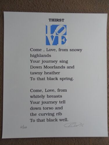 """Robert Indiana """"Love Poem - Thirst"""" Serigraph Hand Signed & Numbered WOW !!!!!"""