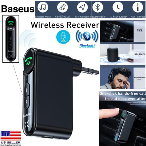 Baseus 3.5mm Bluetooth 5.0 AUX Audio Car Music Receiver Adapter w/Mic Hands free
