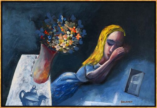 """CHARLES BLACKMAN """"Dreaming Alice"""" Hand Signed, Limited Edition on Canvas FRAMED"""