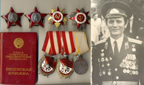 Soviet  2 Red Banner Medal 2 Order the Red Star Sevastopol document GPW (1994)Medals, Pins & Ribbons - 165608